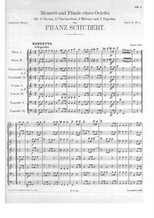 Oktett für Bläser in F-Dur, D.72: Menuett und Finale by Franz Schubert