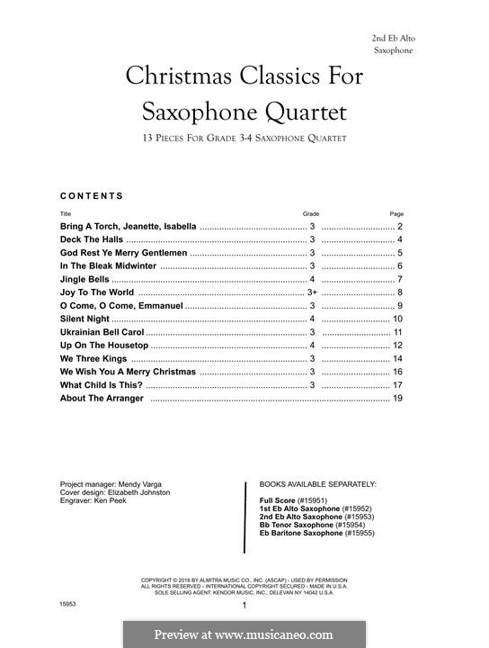 Christmas Classics for Saxophone Quartet: 2nd Eb Alto Saxophone part by folklore