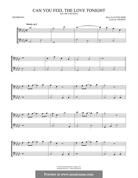 Can You Feel the Love Tonight (from The Lion King), instrument version: For two trombones by Elton John
