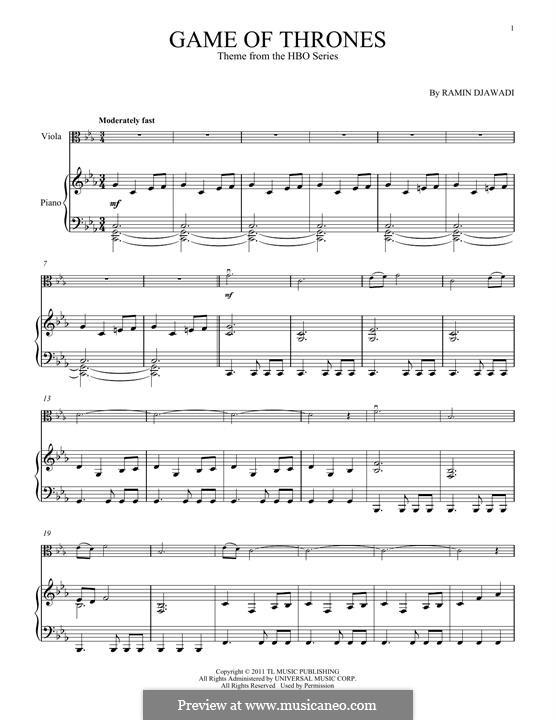 Game of Thrones: Für Viola und Klavier by Ramin Djawadi