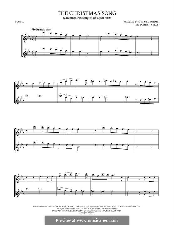 The Christmas Song (Chestnuts Roasting on an Open Fire): Für zwei Flöten by Mel Tormé, Robert Wells