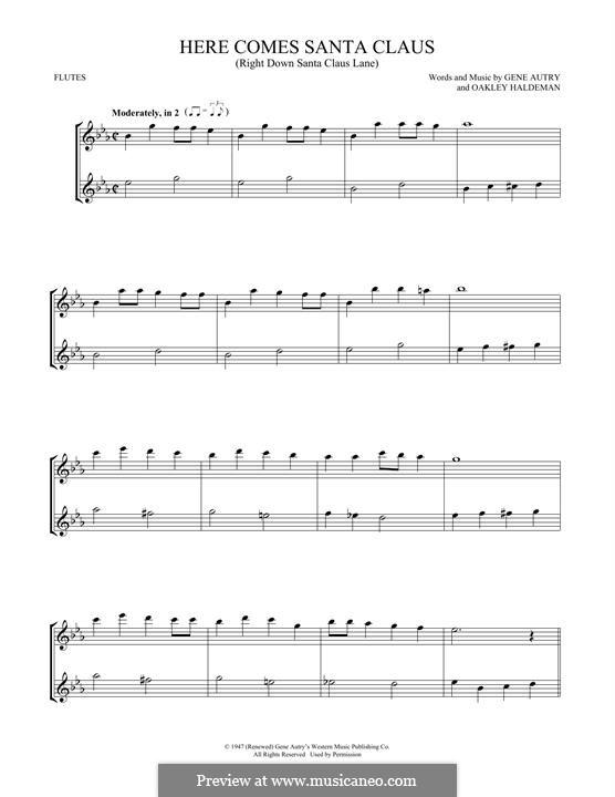 Here Comes Santa Claus (Right Down Santa Claus Lane): Für zwei Flöten by Gene Autry, Oakley Haldeman