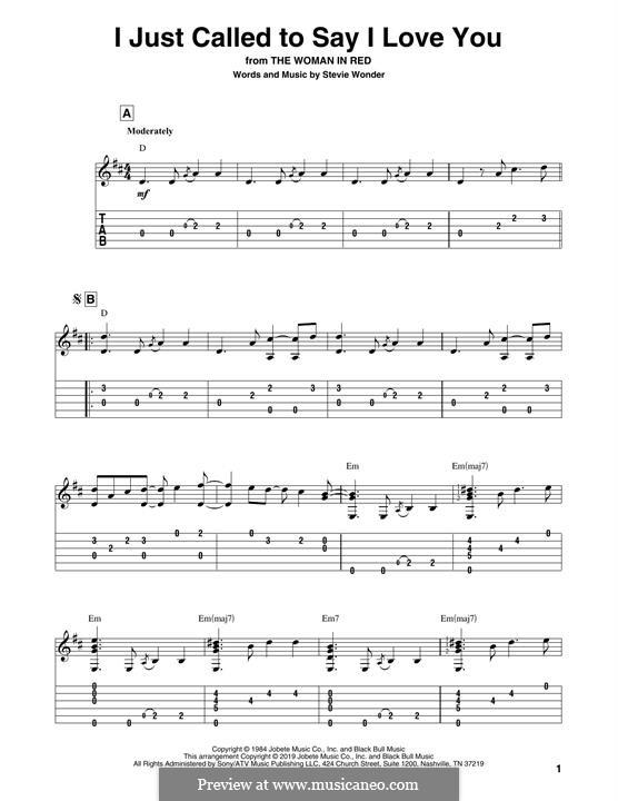I Just Called to Say I Love You: Für Gitarre mit Tabulatur by Stevie Wonder