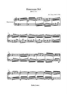 No.4 in d-moll, BWV 775: Für Klavier by Johann Sebastian Bach