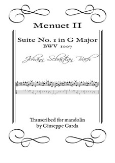 Suite für Cello Nr.1 in G-Dur, BWV 1007: Menuet II. Arrangement for mandolin by Johann Sebastian Bach