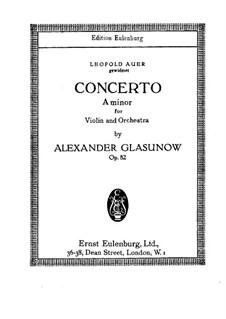Konzert für Violine und Klavier in a-Moll, Op.82: Vollpartitur by Alexander Glazunov