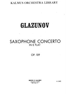 Konzert für Saxophon und Streicher in Es-Dur, Op.109: Vollpartitur by Alexander Glazunov