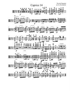 Vierundzwanzig Capricen, Op.1: Caprice No.14, for viola by Niccolò Paganini