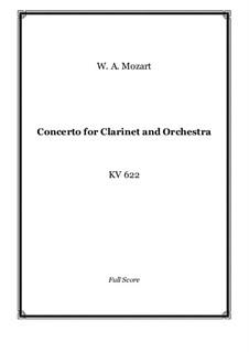 Konzert für Klarinett und Orchester in A-Dur, K.622: Vollpartitur by Wolfgang Amadeus Mozart