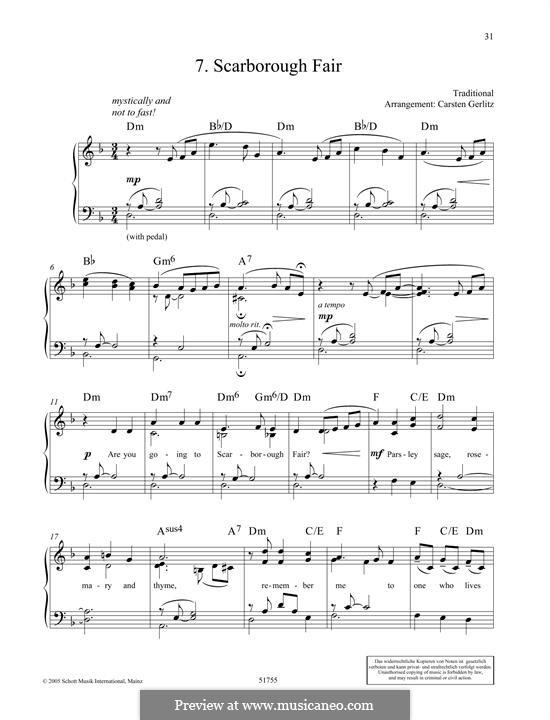 Scarborough Fair (Ptintable scores): Für Klavier by folklore