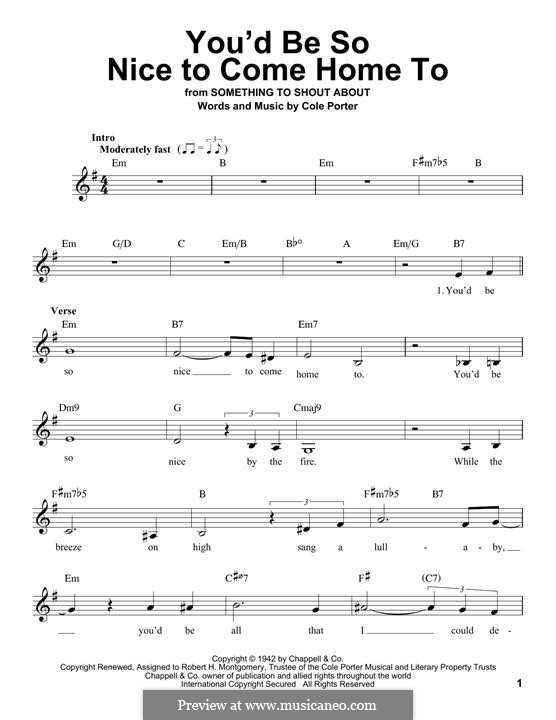 You'd Be So Nice to Come Home to: Melodische Linie by Cole Porter