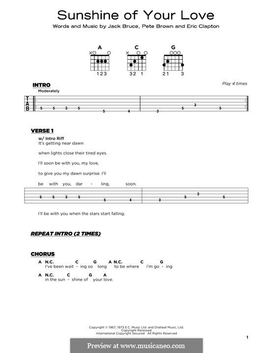 Sunshine of Your Love (Cream): Für Gitarre by Eric Clapton, Jack Bruce, Pete Brown