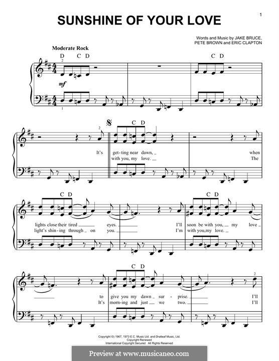 Sunshine of Your Love (Cream): Für Klavier by Eric Clapton, Jack Bruce, Pete Brown