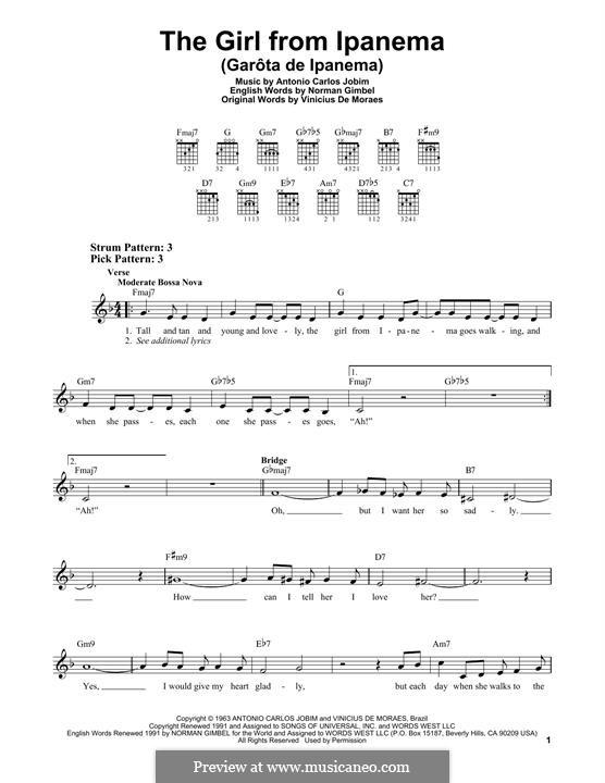 The Girl from Ipanema (Garota de Ipanema): Für Gitarre by Antonio Carlos Jobim