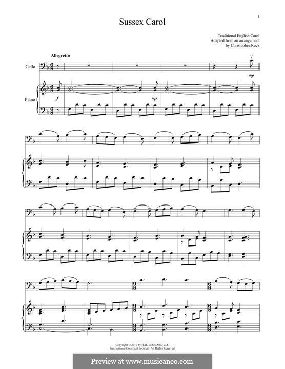 Sussex Carol: Für Cello und Klavier by folklore