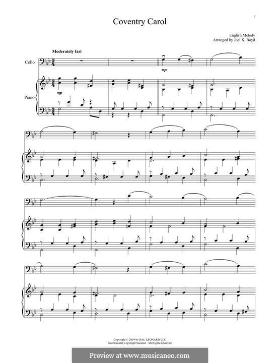 Coventry Carol: Für Cello und Klavier by folklore