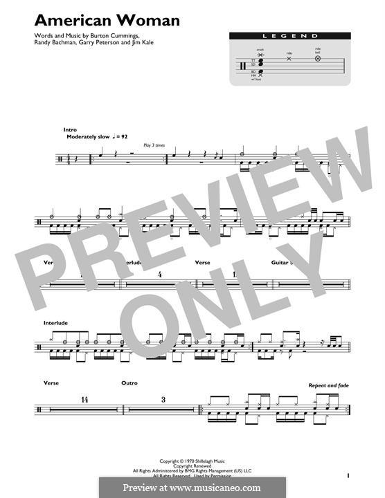American Woman (Lenny Kravitz): Drum set by Burton Cummings, Garry Peterson, Jim Kale, Randy Bachman