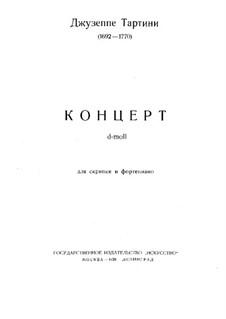 Konzert für Violine und Klavier in d-Moll: Partitur, Solostimme by Giuseppe Tartini