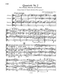 Streichquartett Nr.2 in a-Moll, Op.51: Vollpartitur by Johannes Brahms