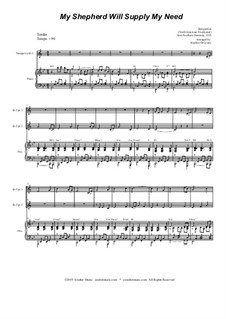 My Shepherd, You Supply My Need: Duet for Bb-trumpet by folklore