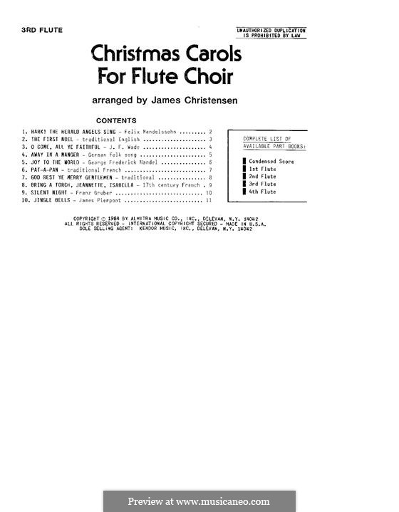 Christmas Carols for Flute Choir: 3rd Flute part by folklore