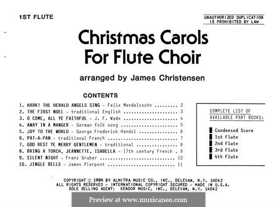 Christmas Carols for Flute Choir: 1st Flute part by folklore