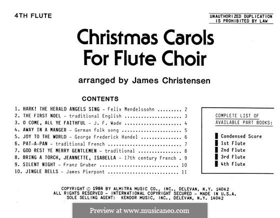 Christmas Carols for Flute Choir: 4th Flute part by folklore