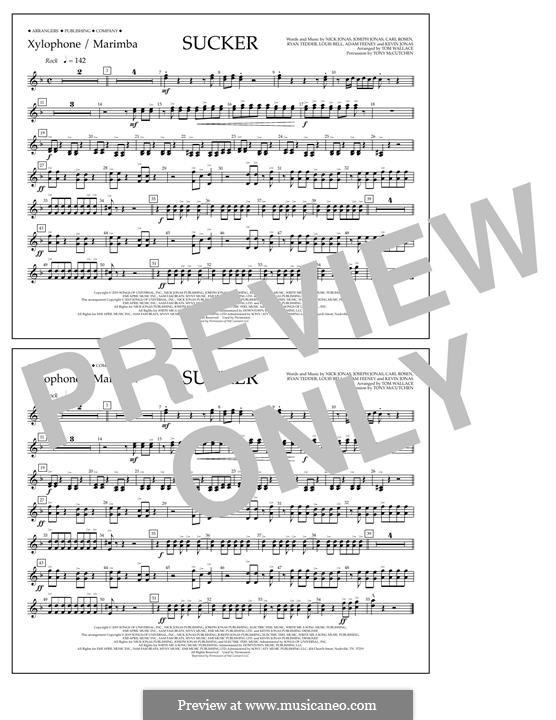 Sucker (Jonas Brothers): Xylophone/Marimba part by Joseph Jonas, Kevin Jonas Sr., Nicholas Jonas, Ryan B Tedder, Louis Bell, Frank Dukes