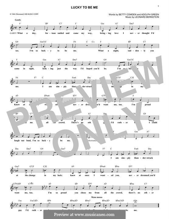Lucky To Be Me: Melodische Linie by Leonard Bernstein, Adolph Green