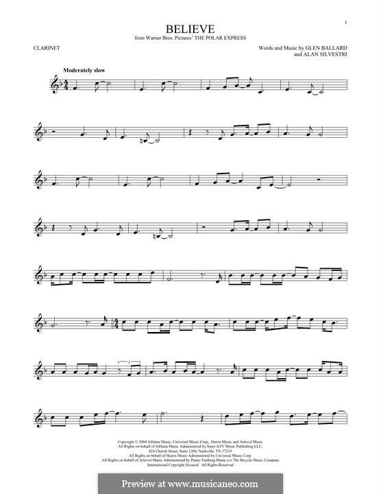 Believe (Josh Groban): Für Klarinette by Alan Silvestri, Glen Ballard