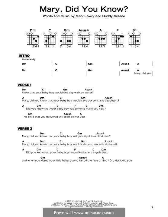 Mary Did You Know?: Für Gitarre by Bud Green