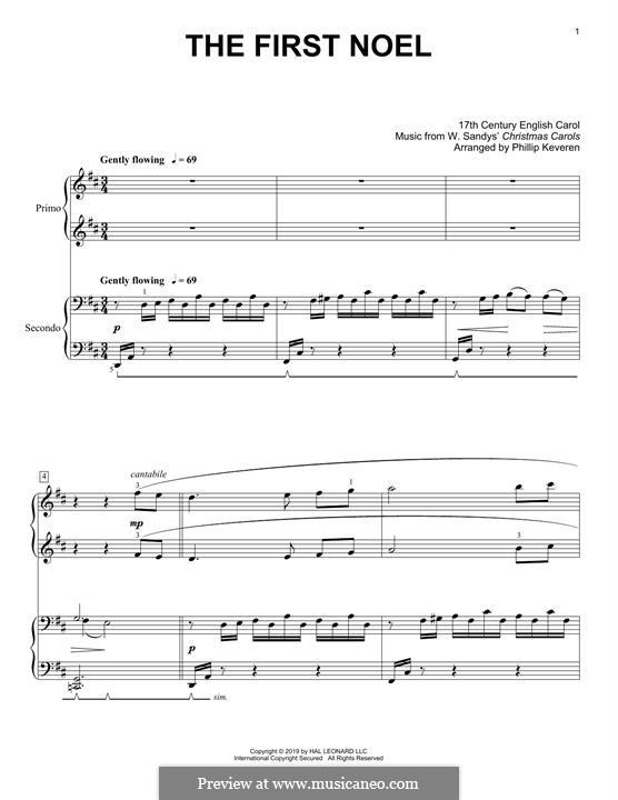 The First Nowell (The First Noël), for Piano: For four hands by folklore