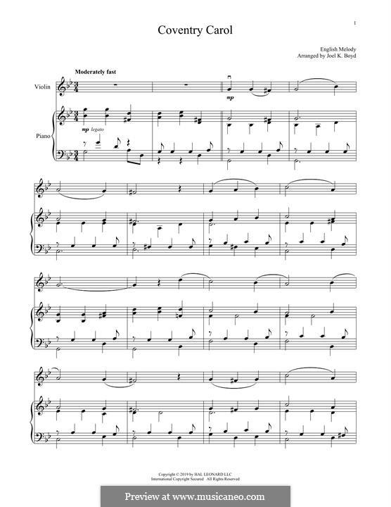 Coventry Carol: Für Violine und Klavier by folklore