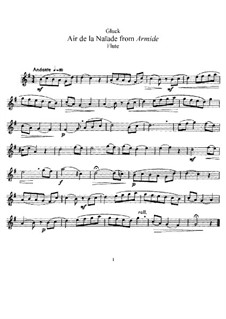 Armide, Wq.45: Air de la naïade, für Flöte und Klavier – Solo Stimme by Christoph Willibald Gluck