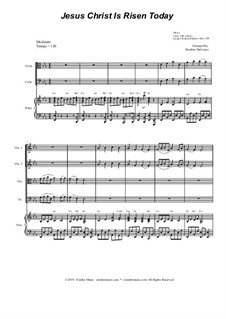 Jesus Christ Is Risen Today: For string quartet and piano by Georg Friedrich Händel, folklore