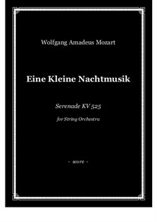 Vollständige Teile: For string orchestra (string quartet) - score and parts by Wolfgang Amadeus Mozart