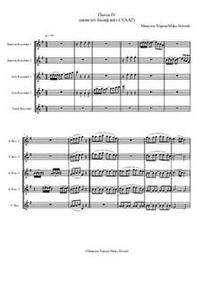 Пьеса No.4 для квинтета блокфлейт ССААТ, MH 061219: Пьеса No.4 для квинтета блокфлейт ССААТ by Maks Horosh