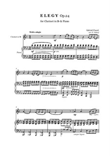 Elegie, Op.24: For clarinet in Bb and piano by Gabriel Fauré
