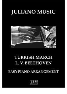 Türkischer Marsch: For easy piano - C version by Ludwig van Beethoven