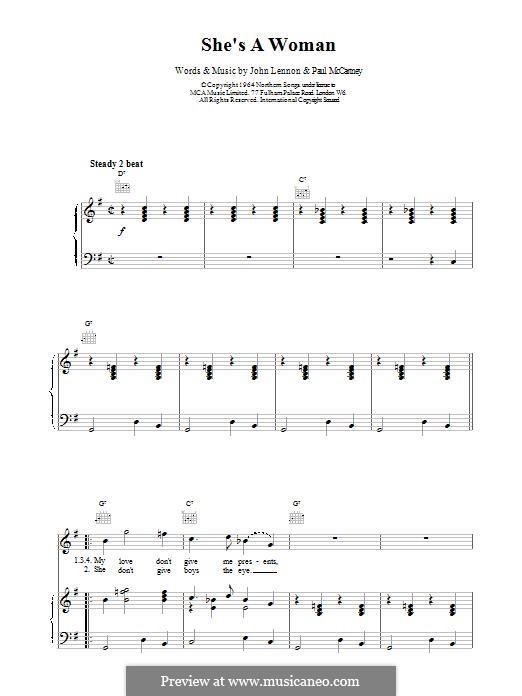 She's a Woman (The Beatles): Für Stimme und Klavier (oder Gitarre) by John Lennon, Paul McCartney