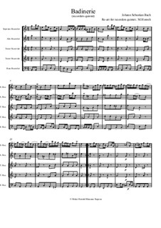 Orchestersuite Nr.2 in h-Moll, BWV 1067: Badinerie. Version for quintet flute recorders SATTB by Johann Sebastian Bach