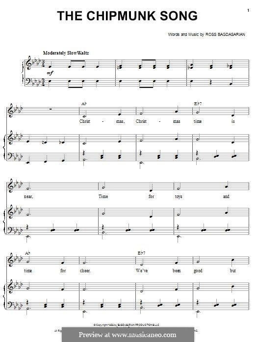The Chipmunk Song (Alvin and the Chipmunks): Für Stimme und Klavier by Ross Bagdasarian