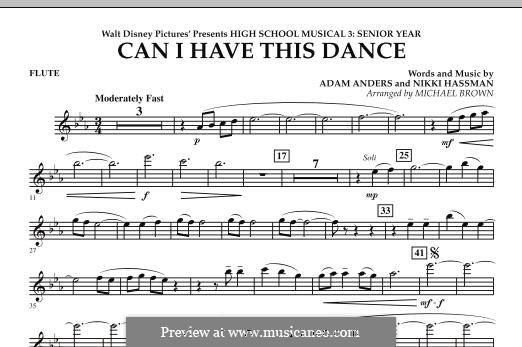 Can I Have This Dance (High School Musical 3): Flötenstimme by Adam Anders, Nikki Hassman