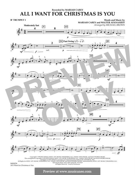 All I Want for Christmas is You, instrumental version: Bb Trumpet 1 part (arr. Michael Brown) by Mariah Carey, Walter Afanasieff