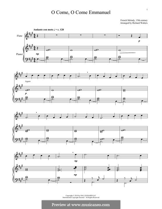 O Come, O Come, Emmanuel: Für Flöte und Piano by folklore