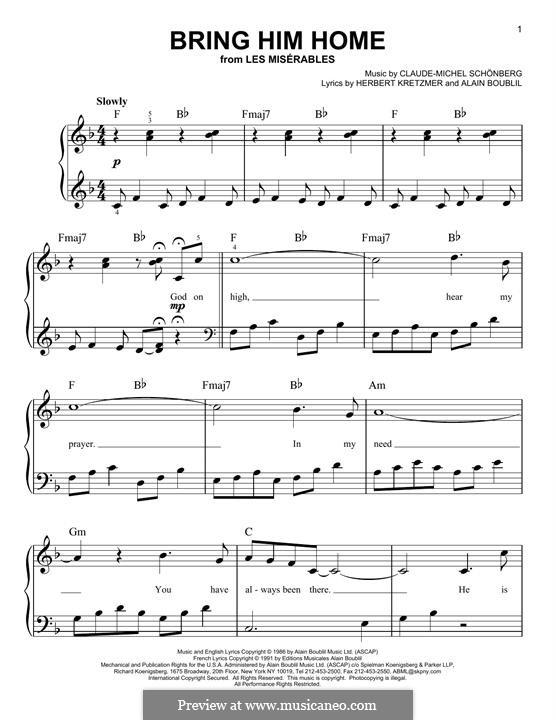 Bring Him Home: Für Klavier by Claude-Michel Schönberg