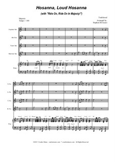 Hosanna, Loud Hosanna (with 'Ride On, Ride On In Majesty!'): For saxophone quartet and piano by folklore