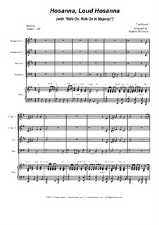 Hosanna, Loud Hosanna (with 'Ride On, Ride On In Majesty!'): For brass quartet and piano by folklore