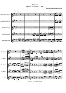 Пьеса No.5 для квинтета блокфлейт ССААТ, MH 151219: Пьеса No.5 для квинтета блокфлейт ССААТ by Maks Horosh