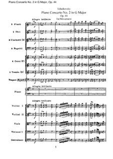 Konzert für Klavier und Orchester Nr.2 in G-Dur, TH 60 Op.44: Vollpartitur by Pjotr Tschaikowski